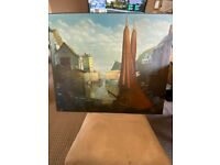 Harbour picture signed 'Morton'.(on board)