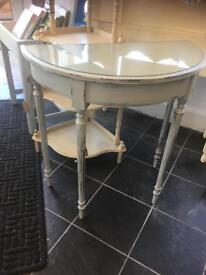 STUNNING VINTAGE DEMI-LUNE CHALK PAINTED HALL TABLE - CAN DELIVER