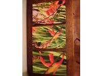 3 original orange flower canvases
