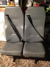 Minibus seat or crew bus seat with seatbelts