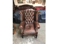 Fantastic vintage super rare brown leather chesterfield Queen Anne wingback chair UK delivery