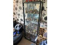 Black glass and wood display unit
