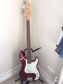 Red and White Bass Guitar including Strap, Amplifier, 2 x Leads, Bag and Guitar Stand