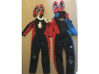 Wetsuits kids 5-6 £ 7-8 plus shoes almost new