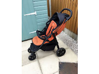 Joie Litetrax chromium Orange Pushchair Stroller 4 Wheeler Including Raincover Good Condition Used