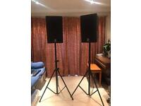 Yamaha DXR12 Active Monitor Spears and Pro Stands. All as NEW