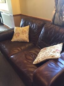 Brown leather sofa plus chair