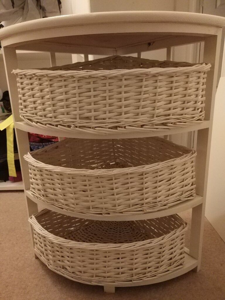 Free Wicked Wicker Corner Storage Unit 3 Baskets In