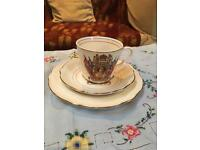Queens Coronation teacup, saucer and cake plate