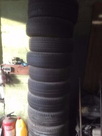 "tyres , used tyres about 70 tyres in stock all in great condition , from 15"" to 19"" £15 each"