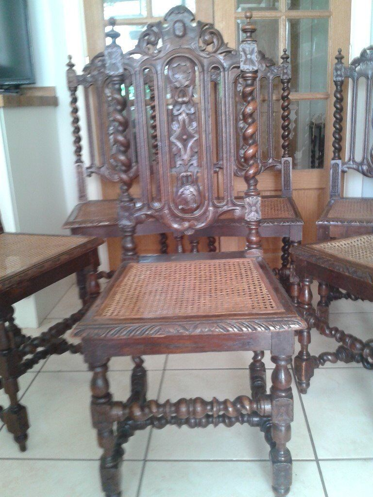 Six oak beautifully carved dinning chairsin Birstall, LeicestershireGumtree - Six beautiful oak chairs. With extensive carving and barley twist legs. Of French origin and many years old, they will enhance any table or dinning room. A collectors bargain as room needed as downsized. Hence the bargain price for all six chairs