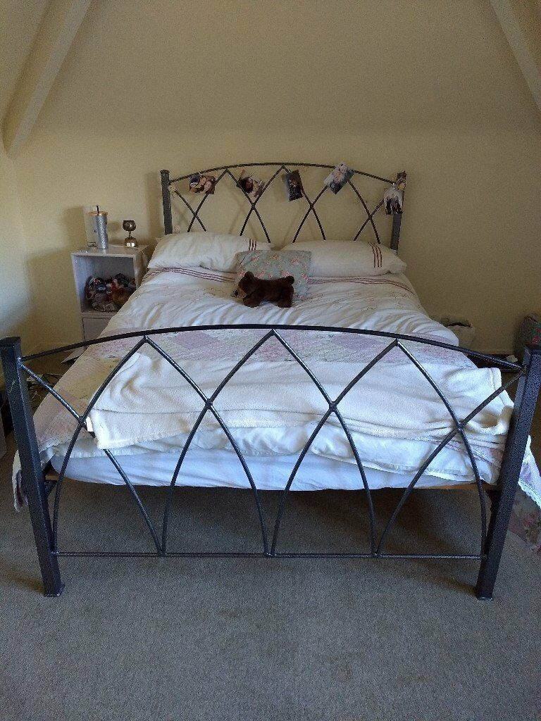 Hand Made Gothic Grey Black Metal Double Bed Frame With Wooden Slats