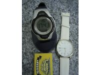 2 WATCHES BIG FACE M&S WHITE N GOLD ANALOGUE & SPORTS DIGITAL MUTI FUNCTION NEW
