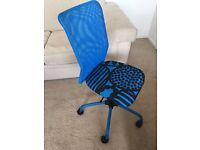 Ikea child/ teenager's swivel chair (blue)
