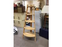 Wooden corner unit with shelfs