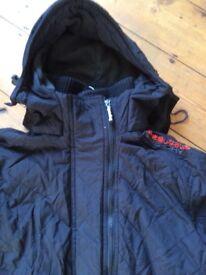 Superdry Mens/Boys Black coat size small.