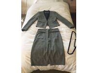 CUE women's grey checked skirt suit size 10