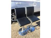 2x Black Leather breakfast bar stools