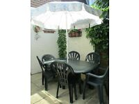 Green Plastic PVC Garden Patio Furniture Set Quality Solid Table & 6 Chairs
