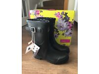 Joules black wellington boots