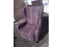 Lovely Chesterfield Wingback Armchair, Very Good Condition .