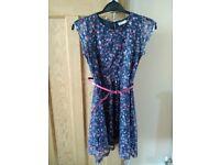 Girls Blue Floral Summer Dress 10 years