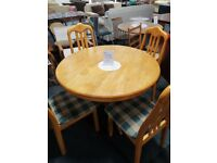CIRCULAR PINE DINING TABLE & 4 CHAIRS
