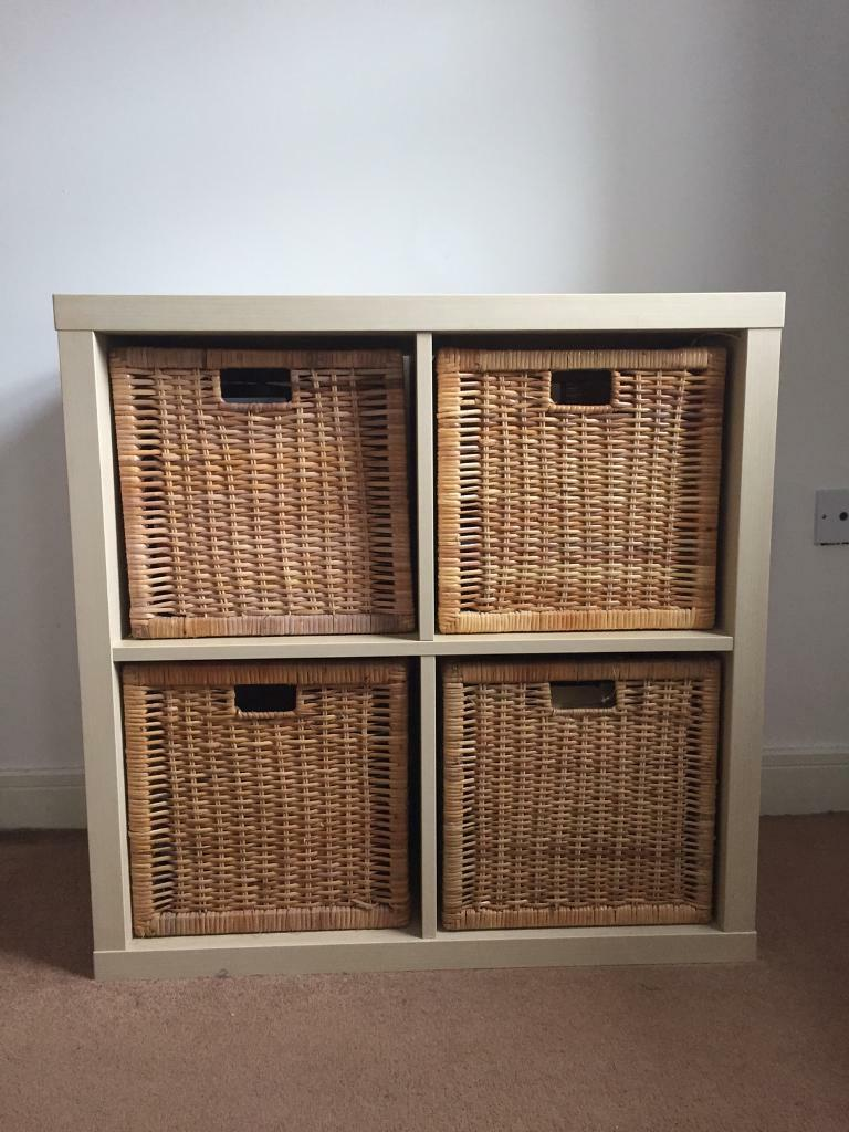 ikea expedit kallax 2x2 shelving unit 4 wicker baskets in bury manchester gumtree. Black Bedroom Furniture Sets. Home Design Ideas