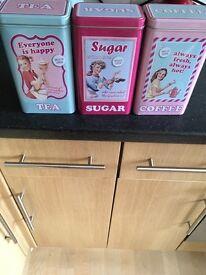 Tea coffee sugar tins