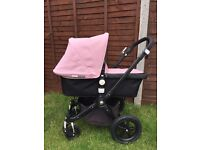 Soft pink Bugaboo Cameleon 3 pram/pushchair with upgraded black chassis