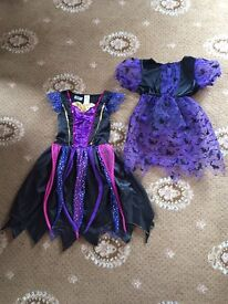 2 x Halloween Witches Costumes For Ages 7-8 Years. 1 x Dress & 1 x Top.