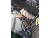 Garden table and two folding chairs