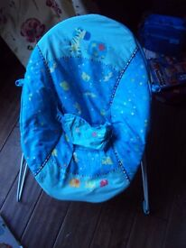 baby bouncer , blue pattern