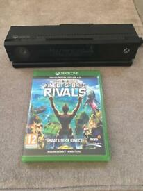 Box One Kinect camera and sports rivals game.