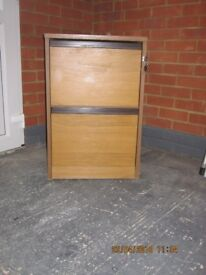 Two drawer teak effect filing cabinet with keys