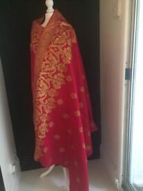 Pink gold cotton sari fabric / shawl