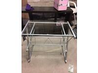 Silver and glass workstation/desk