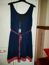 Next navy & coral summer dress size 16