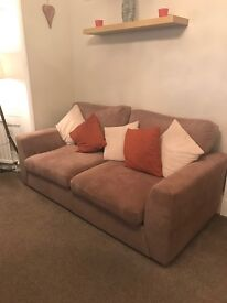 Mocha 3 seater sofa couch and cuddle chair £350