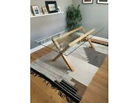 Habitat glass dining table for 6-8 with oak frame.