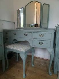SOLD STC. Regency style dressing table painted, distressed and waxed in annie sloan duck egg