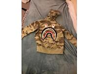 A bathing ape bape tiger camo embroidery shark full zip hoodie small *authentic*