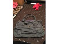 grey handbag