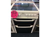 BEKO 60CM CEROMIC TOP ELECTRIC COOKER IN WHITE