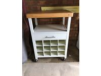 Kitchen chopping block trolley with wine rack