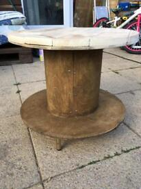 Bespoke handmade rustic style cable drum coffee table