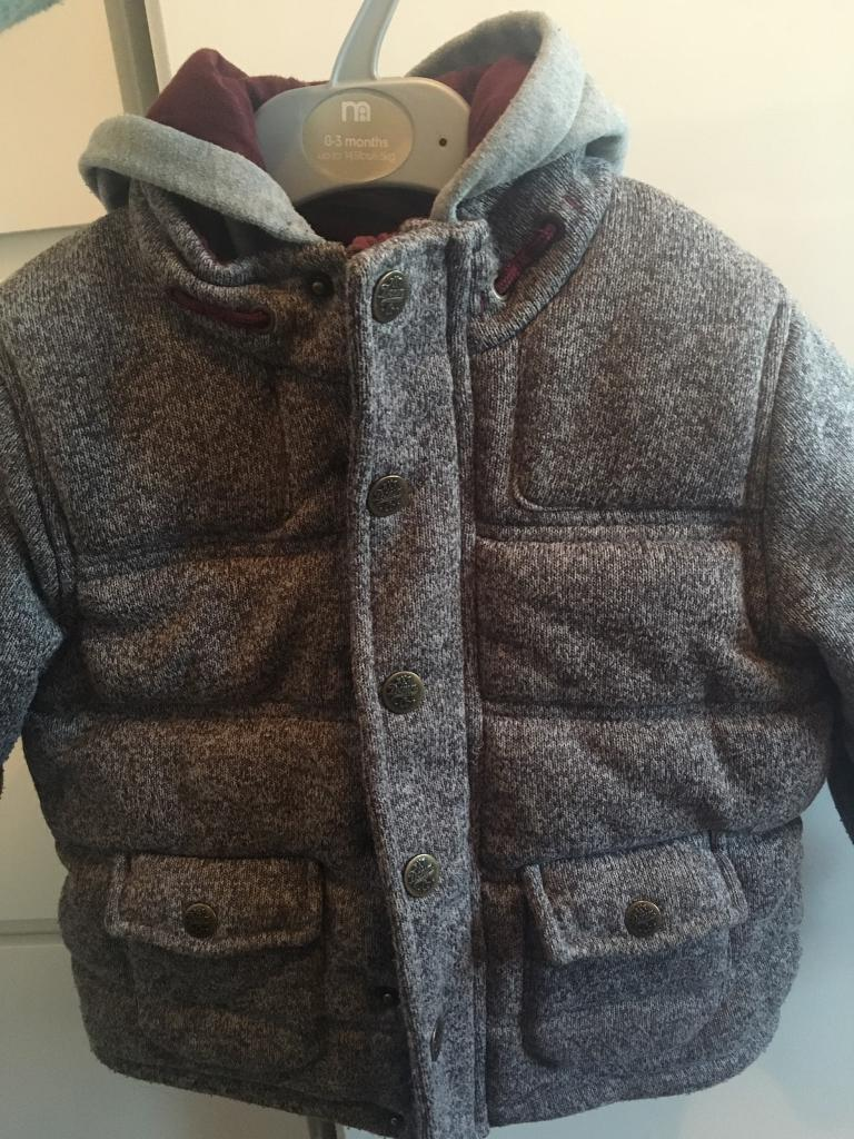 Next Marl Grey Thick Hooded Jacket size 4-5