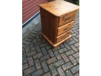 X2 Solid Antique Pine 3 Drawer Bedside Units.