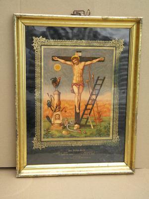 HEILIGENBILD 53x41cm LEIDEN CHRISTI im WASCHGOLD RAHMEN c.1870 BERLINER LEISTE