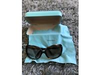 Tiffany & Co sunglasses with case and cleaning cloth.